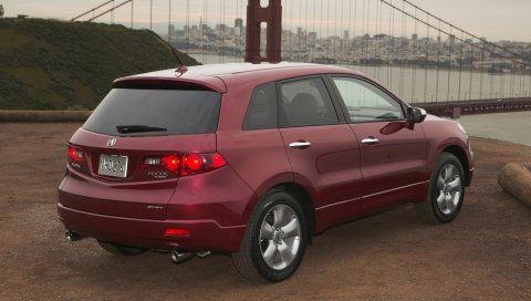 Acura, rdx, красный, вид сзади, стиль, автомобили, город, природа, мост