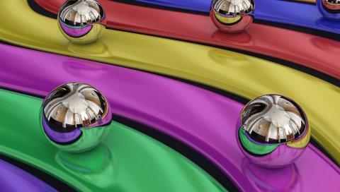 Воздушные шары, красочные, радуга, металл