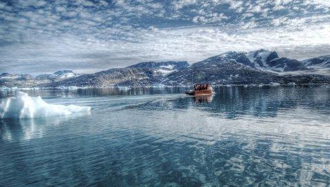 Ледник, холод, лодка, водный столик, горы