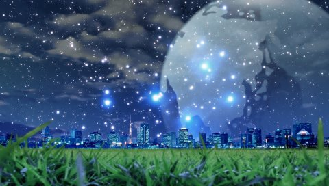 Планета, снег, город, ночь, трава