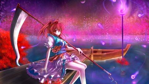 Девушка, вода, лодка, коса, вечер