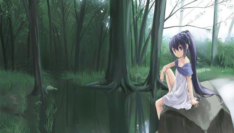 Девушка, камень, вода, грусть, лес