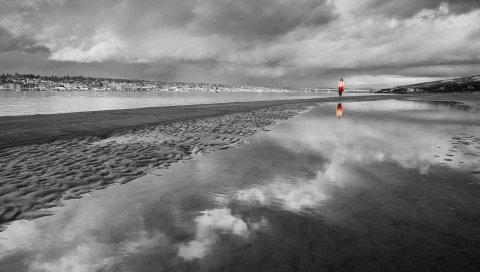 Пляж, песок, вода, человек, силуэт, черно-белый