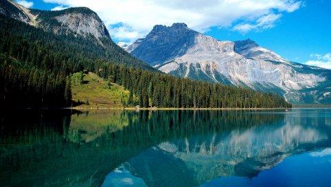 Изумрудное озеро, национальный парк, озеро, деревья, отражение, горы