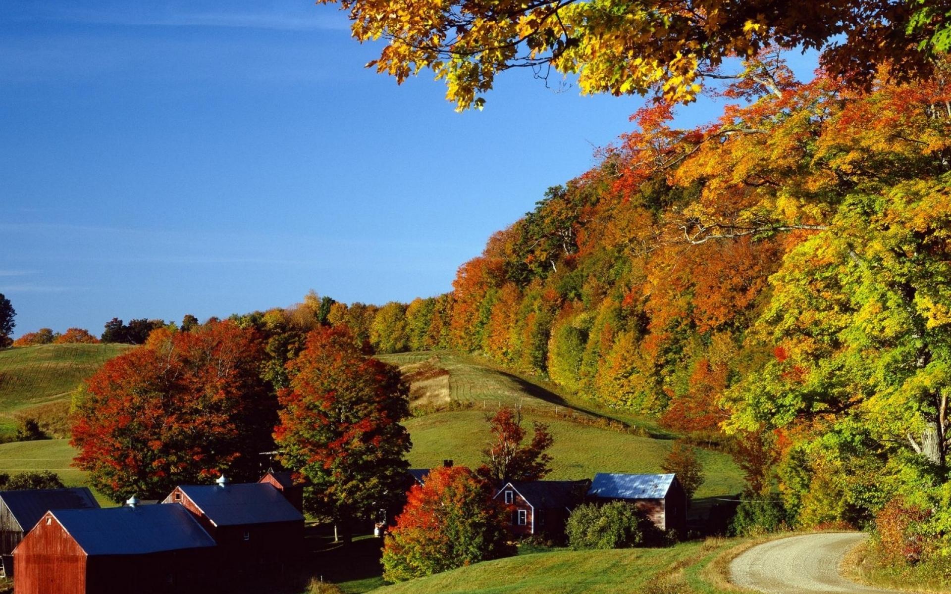 Картинки Деревня, осень, дома, деревья, луга фото и обои на рабочий стол