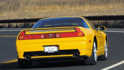 Acura, nsx, желтый, спорт, стиль, вид сзади, автомобиль, дорога, природа
