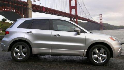 Acura, rdx, серебристый металлик, джип, вид сбоку, автомобили, стиль, мост, река, природа