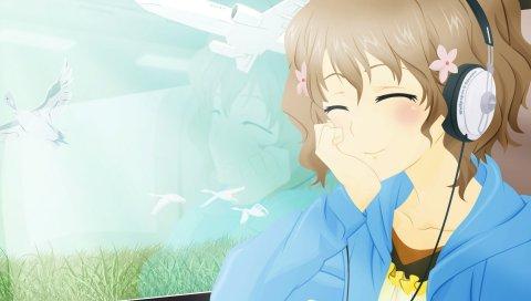 Девушка, милый, улыбка, самолет, птица, наушники, музыка