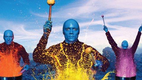 Синий человек группа, изображение, лысый, цвета, взгляд