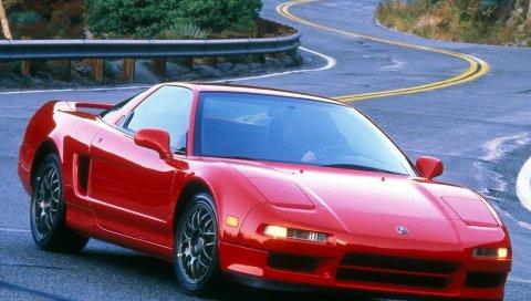 Acura, nsx, 1999, красный, вид спереди, спорт, стиль, автомобили, дорога, природа