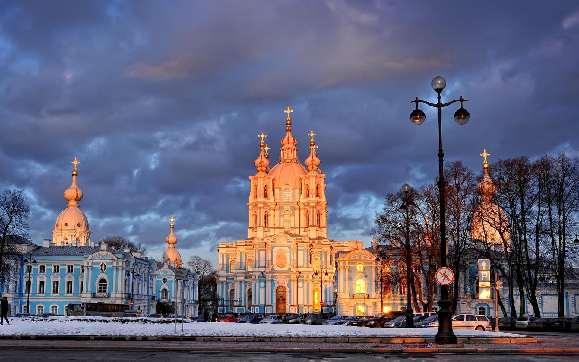 Картинки Деревья, Санкт-Петербург, Смольный собор, фонарь фото и обои на рабочий стол