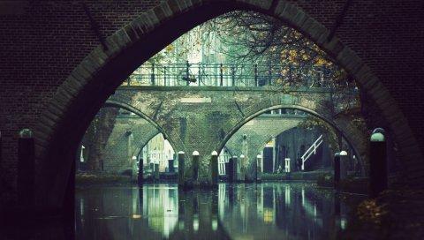 Велосипед, река, мост, арка