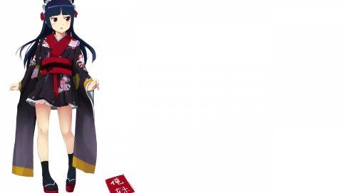 Девушка, кимоно, брюнетка, поза, ноутбук
