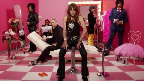 Куклы из Нью-Йорка, группа, комната, розовые, стулья