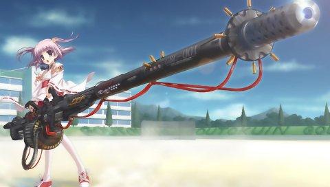 Аниме, девушка, кимоно, оружие, улица