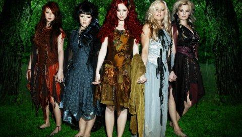 Indica, девушки, группа, лес, деревья