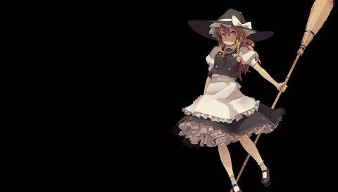 Аниме, девушка, костюм, ведьма, метла