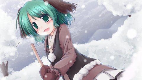 Девушка, улыбаясь, зима, снег, радость
