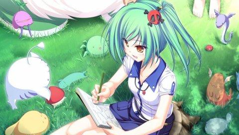 Аниме, девушка, молодая, фантазия, существа, клиринг, рисунок
