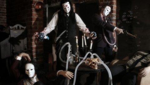 Злой, образ, стол, комната, маски