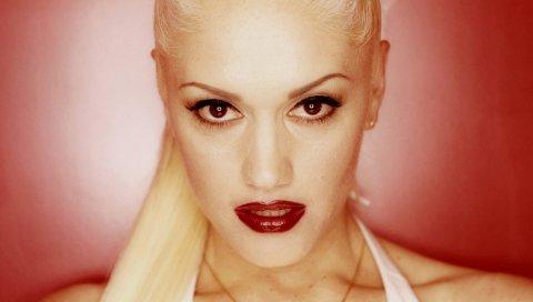 Gwen stefani, лицо, губная помада, губы, взгляд