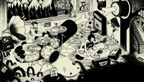 Сцена, спектакль, певец, комната, черный белый