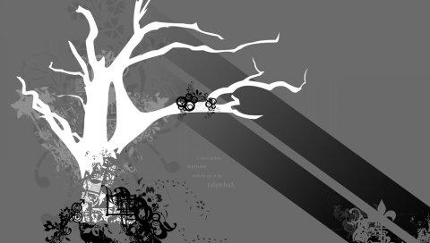 Дерево, украшения, черный, белый, серый