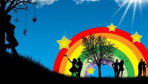 Танцы, люди, радуга, природа