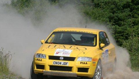 Fiat stilo, abarth, желтый, вид спереди, спорт, автомобиль, природа