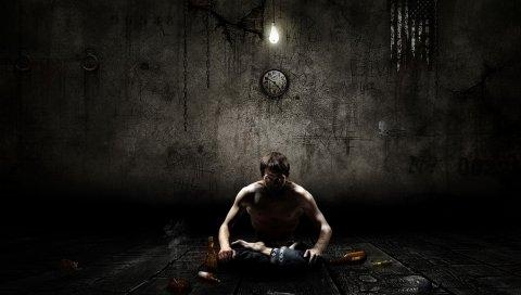 Человек, мальчик, медитация, одиночество