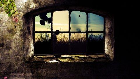 Окно, решетка, листья, камень, заперта