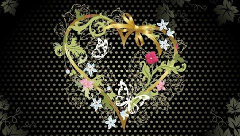 Сердце, цветы, узоры, темные, яркие