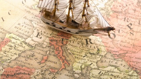 Корабль, карта, бумага, сувениры