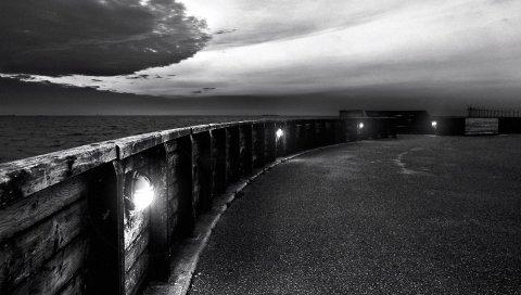 Черный белый, набережная, мост, мокрый снег, вечер