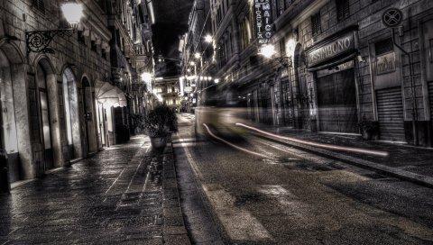 Город, черный белый, дорога, улица, ночь, движение, hdr