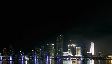 Центр, майами, ночь, флорида