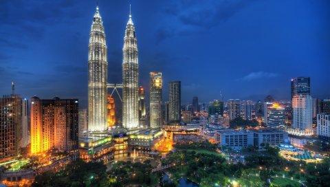 Куала-лумпур, малайзия, небоскребы, ночь, огни города
