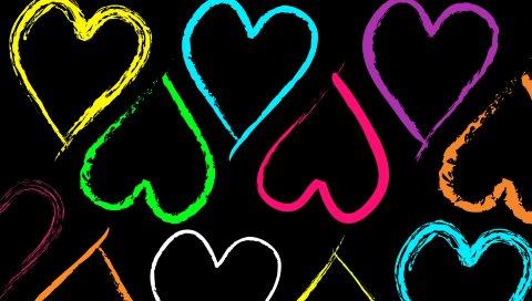 Сердце, рисунок, узор, разноцветные