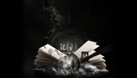 Книга, страница, черный, белый, ирреализм