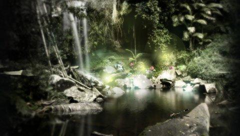 Природа, пейзаж, озеро, цветы, деревья, скалы