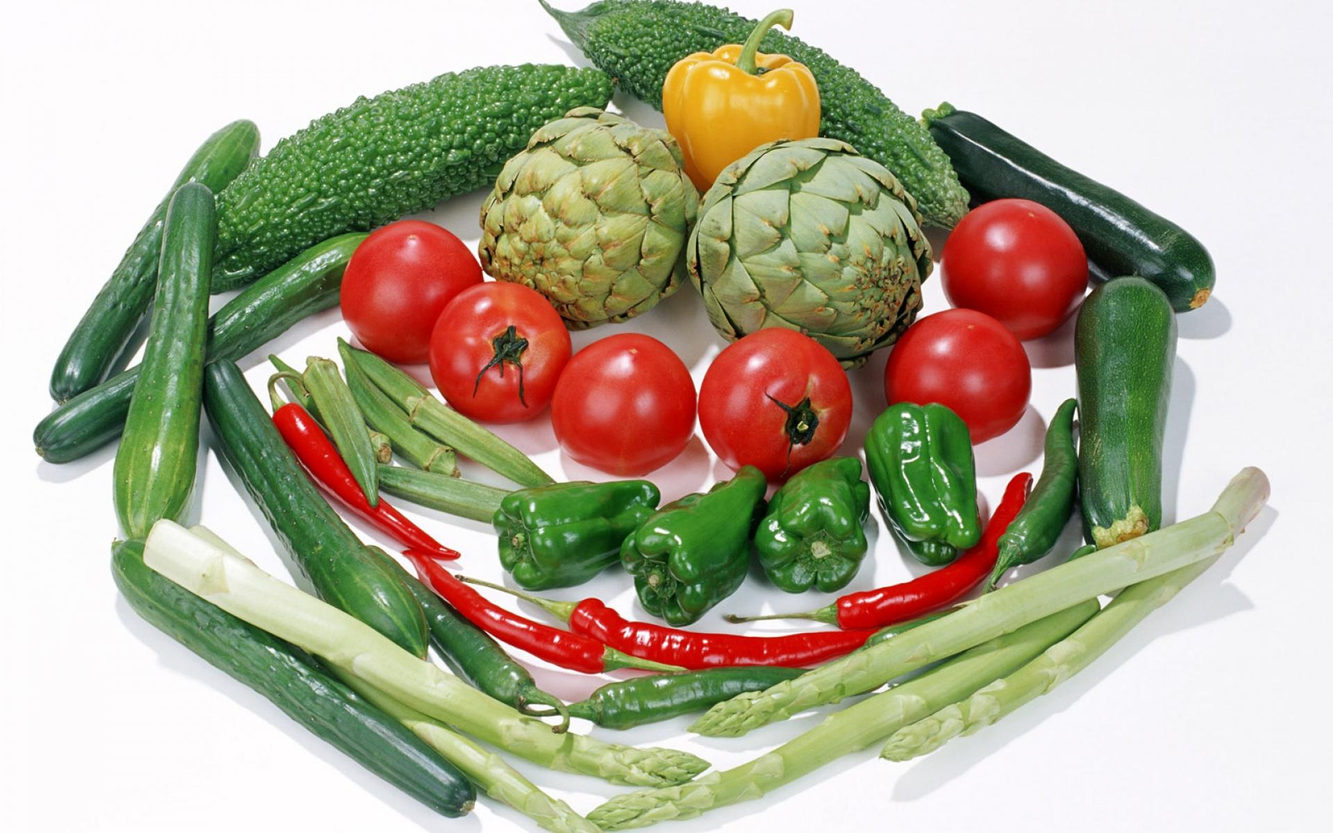 Картинки Овощи, перец, огурцы, помидоры, ассорти фото и обои на рабочий стол