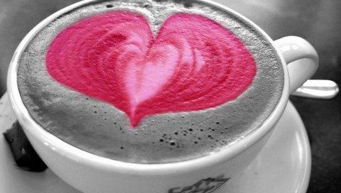 Кофе, чашка, сердце, кожа, пить