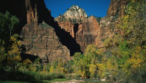 Камни, горная река, деревья, осень, ветви, тени