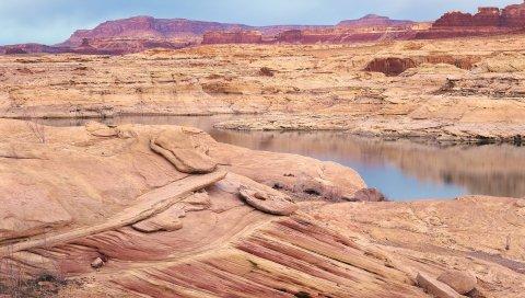 Пустыня, море, каньоны, земля, берег, камни