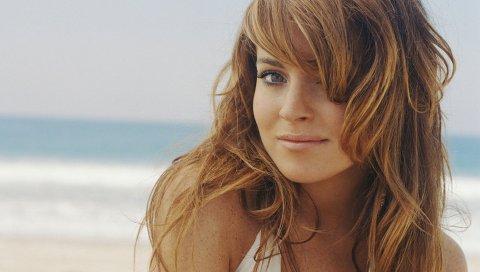 Lindsay lohan, девушка, стрижка, глаза, губы