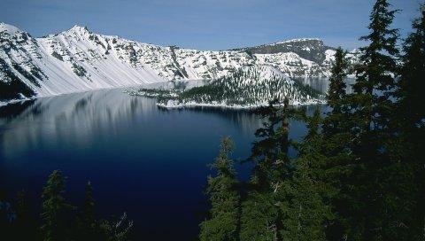 Горы, деревья, снег, елки, остров, зима, река