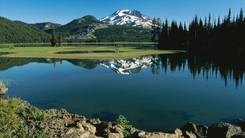 Горы, деревья, вершина, снег, ели, остров, трава, река