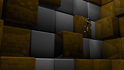 Куб, квадрат, робот, металл