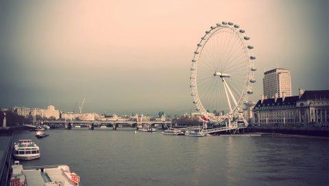Лондон, поездка, река, дом, пристань