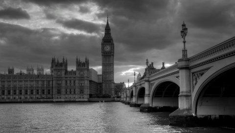 Лондон, мост, большой бен, черный белый, небоскребы